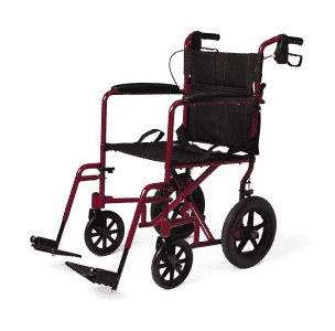 Aluminium transport chair with handbrakes on top